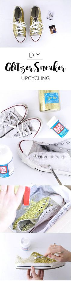 DIY Glitzer Sneaker   Glitzer Chucks   selber machen   Upcycling Schuhe   Gold   Glitter   DIY fashion   paulsvera