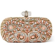 Marchesa: Lily Embroidered Clutch in Coral (39.751.115 IDR) ❤ liked on Polyvore featuring bags, handbags, clutches, purses, bolsas, coral, marchesa handbags, box clutch, brown hand bags and embroidered purse