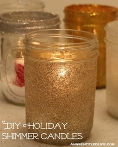 DIY Holiday Shimmer Candles; These beautiful DIY Holiday Shimmer Candles are an easy to make and produce beautiful, sparkling results! http://www.annsentitledlife.com/holidays/diy-holiday-shimmer-candles/
