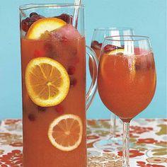 Thanksgiving recipes: Cranberry Punch  1 cup fresh cranberries  1 12-oz. container frozen orange juice, defrosted 1 12-oz. container frozen lemonade, defrosted  1 48-oz. bottle cranberry juice cocktail, chilled  1 orange, thinly sliced  1 lemon, thinly sliced 1 25.4-oz. bottle sparkling apple cider or 750ml bottle sparkling wine, chilled