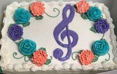 Musical Birthday Cake - Mueller's Bakery Birthday Cakes, Bakery, Crochet Necklace, How To Make, Anniversary Cakes, Crochet Collar, Bakery Shops, Birthday Cake