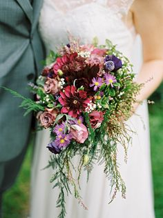 Bouquet Bride Bridal Flowers Purple Green Foliage Ferns Woodland Whimsical Beautiful Bicycle Country Marquee Wedding http://www.emmabphotography.com/