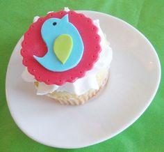 Colorful Modern Bird Fondant Cupcake Toppers
