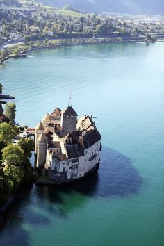Birdseye view of Chateau de Chillon ~ Switzerland.  A must visit when in Suisse land