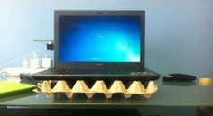 egg carton laptop cooler stand life hack 40 Clever Life Hacks to Simplify your World Office Hacks, College Hacks, College Life, School Hacks, Diy Hacks, Tech Hacks, Trick 17, Reusable Things, Cooler Stand