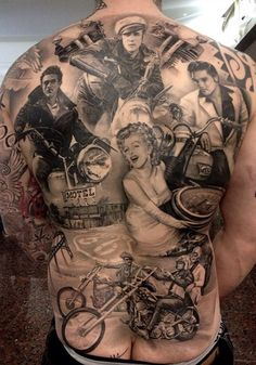 Full back piece tattoo. Old Hollywood