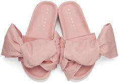 Joshua Sanders - Pink Denim Bow Slide Sandals