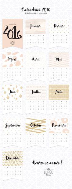 calendrier 2016 à télécharger et à imprimer DIY