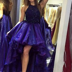 Hot Sale Beaded High Low Prom Dresses Long Homecoming Dress 2017 Sexy Backless Organza Party Colorful Skirt Formal Gowns Imported