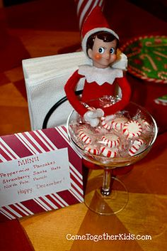 "Welcome Back Breakfast for your Elf on the Shelf Peppermint pancakes, north pole punch, santa ""strawberry"" hats, Must Do :)"