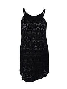 J Valdi Lace Pattern Bathing Suit Cover Up Dress Double Cord Straps Large Black *** Click image to review more details.