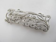 Art Nouveau Rose Cut Diamond Flower Vine Pin Brooch Platinum 14k White Gold | eBay