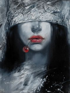 """Stas Sugint; Painting, """"Lady with Cherry """""""
