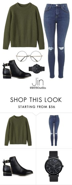 """""""Military/ Army Inspired: Jin"""" by btsoutfits ❤ liked on Polyvore featuring Toast, Topshop, River Island and Retrò"""