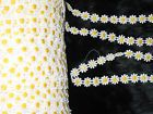 """5 YARDS 1/2"""" WIDTH YELLOW AND WHITE FLORAL COTTN TRIM FOR YOUR FASHION DESIGN - #design, #fashion, #floral, #white, #yellow, COTTN, trim, Width, yards"""