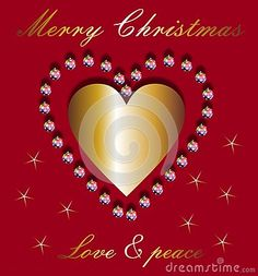 Christmas wishes and a golden heart on red background with stars.