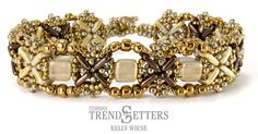 X-Factor Bracelet by TrendSetter Kelly Wiese   Ask for this CzechMates QuadraTile pattern at your local bead store.