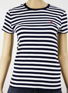 Polo Ralph Lauren Womens Navy Blue Crew Neck Shirt 1259775-navywht by Ralph  Lauren $29.99