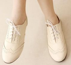 cream oxfords shoes, if only my feet weren't so wide