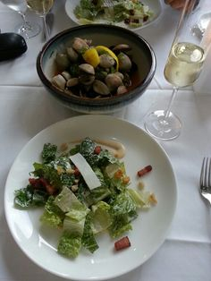 Caesar salad with homemade bacon and chili and garlic clams #oru