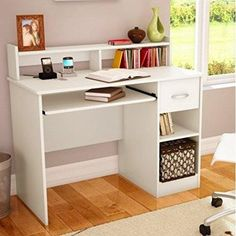 White Desk with Hutch Home Office Furniture Computer Table Contemporary for sale online Home Office Computer Desk, Computer Desk With Hutch, Big Desk, Desk Hutch, Home Office Furniture, Computer Desks, Small Computer, Dorm Furniture, Furniture Price