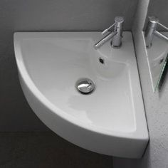 Square Wall Mounted Corner Bathroom Sink in White, love!