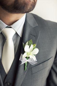 pinstripe shirt, simple boutonniere