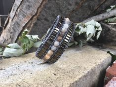 Women gray leather Cuff Bracelet, beads and semi-precious stones. Beaded Bracelets, Leather, Etsy, Jewelry, Budget, Grey Leather, Stones, Lobster Clasp, Unique Jewelry
