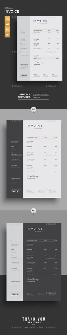 Invoice Template Available in Excel + Word + PSD + AI | Download NOW!