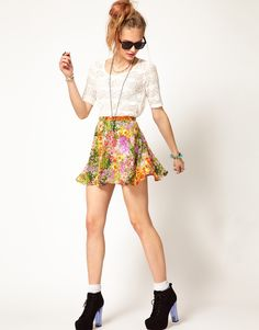 This paint by numbers skirt is a cheeky playful piece that would look HOT layered over chunky knits or loose summery tees...http://www.asos.com/Minkpink/Minkpink-Paint-By-Numbers-Skirt/Prod/pgeproduct.aspx?iid=2701868=minkpink=0=0=-1=-1=Floralprint