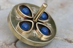 Brass Spinning Toy Blue Stones Brass Sevivon by JudaicaArtDesign