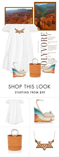 """""""Charlotte Olympia Panoramic Miranda canvas wedge sandals"""" by bodangela ❤ liked on Polyvore featuring Elizabeth and James, Charlotte Olympia and Simon Miller"""