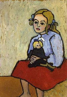 Gabriele Münter, Girl with Doll, 1909, oil on canvas