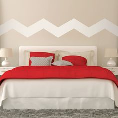 """7"""" Wide Chevrons wall decal on wall behind bed"""