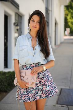 VIVALUXURY - FASHION BLOG BY ANNABELLE FLEUR: SUMMER SWEET Red Valentino bow and ruffles clutch via Luisa Via Roma | Club Monaco Tatumn denim shirt & Cecilia skirt | Joe's Jeans Kitty classic flats | ASOS earrings - sold out { very pretty option here, also love these } | Nordstrom enamel bangles - sold out April 30, 2013