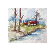 House By The River  Original Watercolor Painting. by ARTRIDE, $29.00