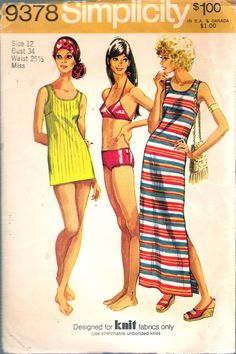 """Vintage 1971 Simplicity 9378 Retro Dress or Top & Bikini (Dress or Top Designed For Knit Fabrics Only) Sewing Pattern Size 12 Bust 34"""" by Recycledelic1 on Etsy"""