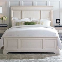 American Drew Bedroom Panel Bed - Oskar Huber Furniture - Southampton, PA and Ship Bottom, NJ Cheap King Size Beds, White King Size Bed, King Size Bed Frame, White King Bed Frame, High Bed Frame, Bed Frames For Sale, Cama King, White Headboard, King Headboard