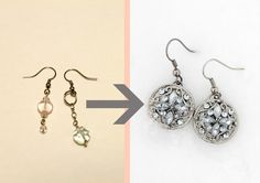easy button earrings - recycled findings and elegant buttons make fast, attractive earrings. the potential use of such buttons in jewelery is huge!