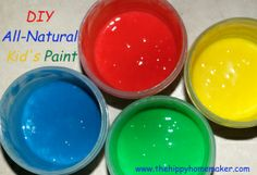 DIY All-Natural Homemade Kids Paint that Rocks!! This stuff lasts longer than most and the color is amazing!