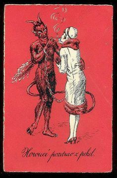 The devil chaining a person to the addiction of nicotine