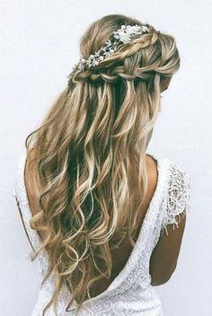 Hairstyles Diy And Tutorial For All Hair Lengths 048 - Bridesmaid hair - Wedding Haar Wedding Hair Down, Wedding Hairstyles For Long Hair, Wedding Hair And Makeup, Down Hairstyles, Girl Hairstyles, Hairstyles 2018, Fashion Hairstyles, Easy Hairstyles, Wedding Updo
