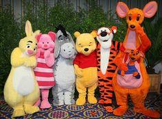 Winnie-the-Pooh, Tigger, Eeyore, Piglet, Rabbit, Kanga, and Roo