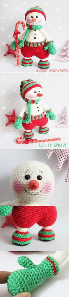 Find and save knitting and crochet schemas, simple recipes, and other ideas collected with love. Crochet Crafts, Crochet Toys, Crochet Baby, Crochet Christmas Gifts, Holiday Crochet, Crochet Designs, Crochet Patterns, Christmas Snowman, Christmas Ornaments