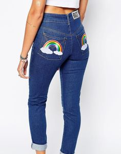 Image 3 of The Ragged Priest Skinny Jeans With Rainbow Back Detail