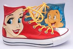 Ariel Little Mermaid Custom Hand Painted Shoes !!! -These will be made to order on any size shoe, please get in contact with us if you could not