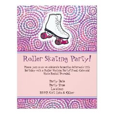 Roller Skate Birthday Invitations Pink Personalized Roller Skating Party Invitation