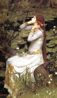 """John William Waterhouse (British, 1849-1917) """"Ophelia"""" (1894). Oil on canvas. Dimensions 124.46 cm x 73.66 cm. Private collection"""