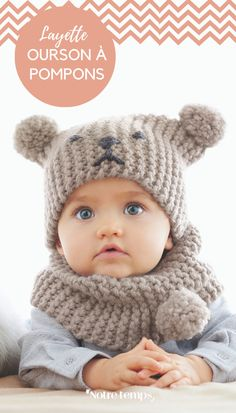 Tricot pour bébé: snob et bonnet - Knitting Patterns Baby Hats Knitting, Knitting For Kids, Baby Knitting Patterns, Baby Patterns, Knitted Hats, Crochet Beanie, Crochet Baby, Knit Crochet, Big Knits