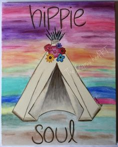 Hippie soul teepee canvas painting #thegypsyheart #canvasart #painting #teepee…